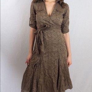 CAbi Faux Wrap Eyelet Dress Brown Midi